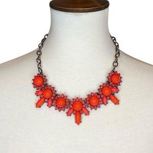 J. Crew Orange Coral Statement Necklace gemstones